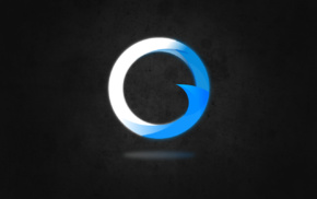 simple background, minimalism, logo, ORIGEN, blue, simple