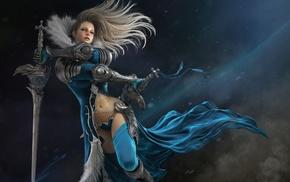 artwork, girl, fantasy art, warrior, sword