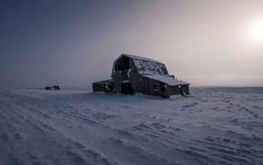 snow, landscape, barns, winter, seasons