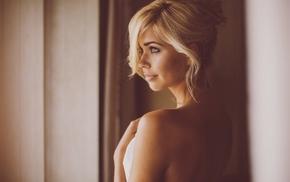 girl, bare shoulders, blonde, Sandra Kubicka, face, model