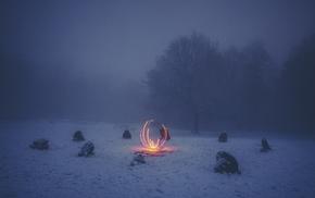 fire, winter