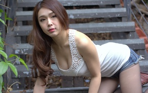 jean shorts, bending over, cleavage, pantyhose, Asian