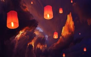 sky lanterns, artwork, lantern, clouds, floating