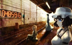 railway, black hair, anime girls, Makise Kurisu, SteinsGate, Shiina Mayuri