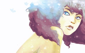 watercolor, bare shoulders, artwork, blue eyes, original characters