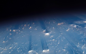 Earth, clouds, space