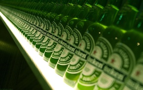 green, photography, alcohol, Dutch, bottles, depth of field