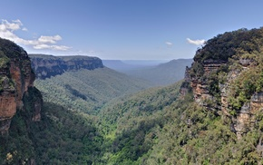 cliff, Australia, landscape, valley, plants, photography