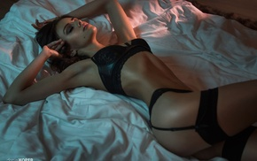 bed, black bras, closed eyes, moles, lingerie, black panties