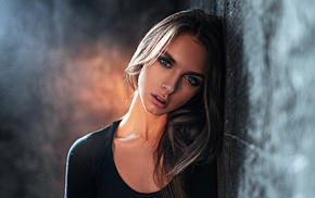 blue eyes, Viktoria Vishnevetskaya, portrait, Georgy Chernyadyev, black clothing, brunette