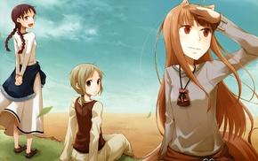 anime girls, Okamimimi, Holo, Spice and Wolf, anime