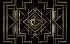 black, The Great Gatsby, gold, digital art, Art Deco, minimalism