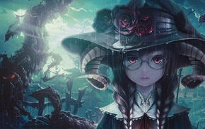 rose, glasses, horns, witch, anime girls, braids