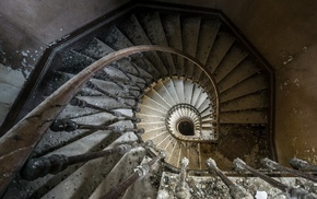spiral, interior, stairs, photography, old