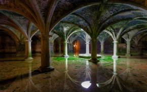 arch, water, photography, Gothic, old, interior