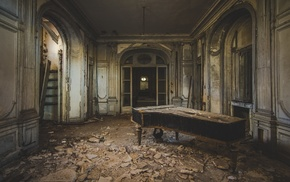 piano, old, interior, photography, interior design, abandoned