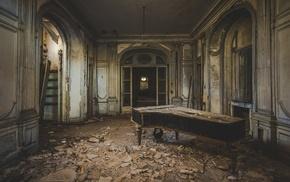 piano, old, interior, photography, interior design, abandoned