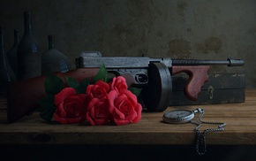 gun, machine gun, photography, old, rose, pocket watch
