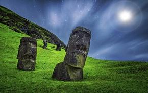 nature, sculpture, landscape, stone, Rapa Nui, enigma