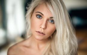 blonde, face, portrait, girl, blue eyes