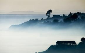 landscape, Chile, mist, nature, mountains, blue