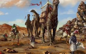 desert, dinosaurs, fantasy art, painting, sand