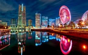 Japan, ferris wheel, reflection, skyscraper, city lights, city