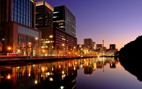 city, water, city lights, Tokyo, building, reflection