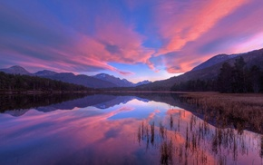 reflection, clouds, landscape, water