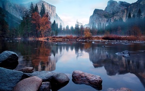 mist, trees, river, mountains, nature
