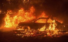 fire, destruction, car