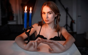 looking at viewer, candles, black bras, model, girl