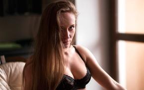 black bras, girl, portrait, model, window, looking at viewer
