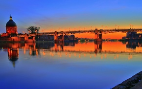 Garonne, Toulouse, France, bridge, sunset, river