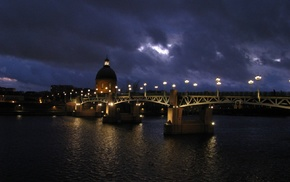 clouds, Toulouse, Pont Saint, Pierre, France, river