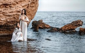 girl, model, sea, nude, rock, fantasy art