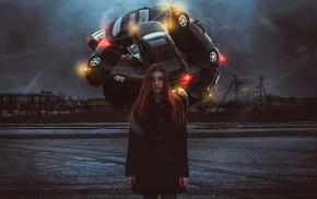 artwork, car, Yuri_Shwedoff, girl, fantasy art