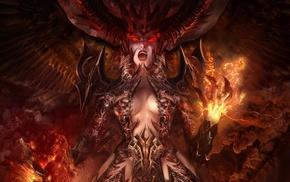 artwork, demon, fantasy art, fire