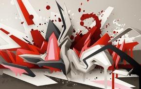 dual monitors, Daim, graffiti, 3D