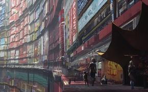 science fiction, markets, artwork, concept art