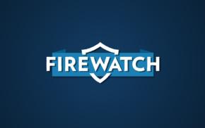 Firewatch, typography, blue background