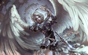 girl, sword, artwork, angel, fantasy art