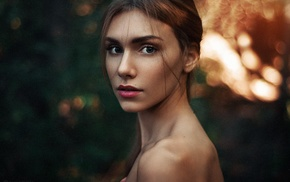 long hair, girl, lips, face, Maks Kuzin, makeup