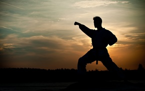 men, silhouette, martial arts, men outdoors, kimono, nature
