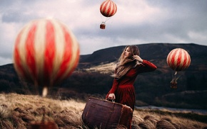 red dress, field, girl, miniatures, hot air balloons, blonde