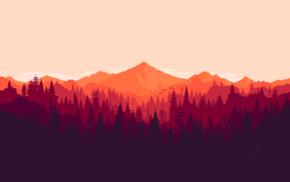 red, pine trees, minimalism, Firewatch, tabbetz, forest