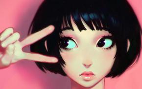 girl, artwork, drawing, Leon, hands, cartoon