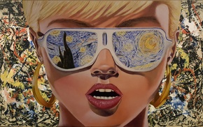 sunglasses, 1980s, The Starry Night, Vincent van Gogh, digital art, blonde