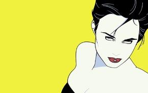 yellow background, artwork, girl, yellow, drawing, Patrick Nagel