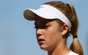 ponytail, blonde, tennis, face, looking away, girl
